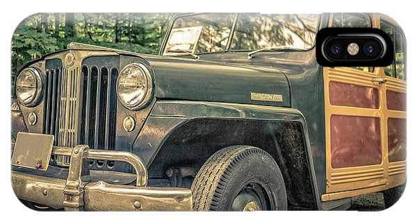 Wagon Wheel iPhone Case - Vintage Jeep Station Wagon by Edward Fielding