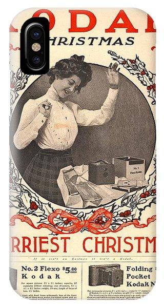 Cameras iPhone Case - Vintage Kodak Christmas Card by Edward Fielding