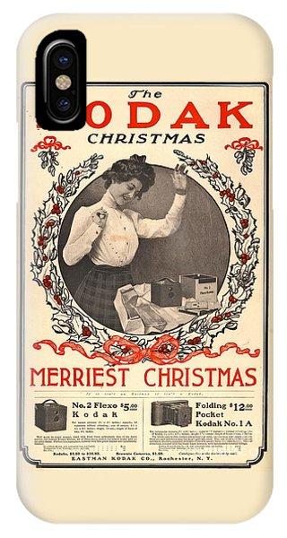 Vintage Camera iPhone Case - Vintage Kodak Christmas Card by Edward Fielding