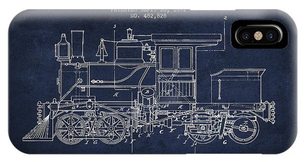 Patent Drawing iPhone Case - Vintage Locomotive Patent From 1892 by Aged Pixel