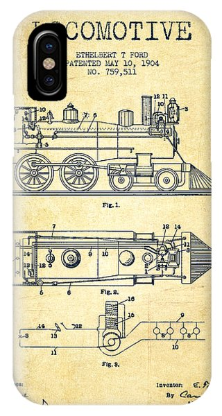 Vintage Locomotive Patent From 1904 - Vintage IPhone Case
