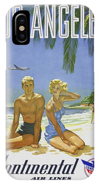 IPhone Case featuring the digital art Vintage Los Angeles Travel Poster by Joy McKenzie