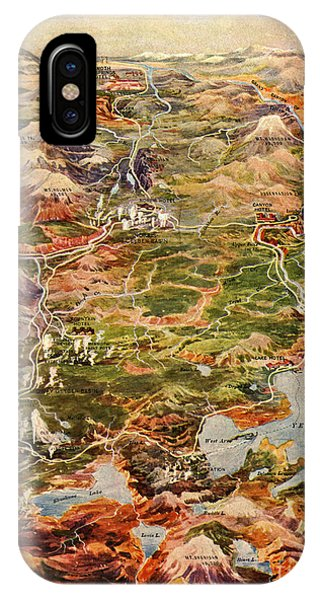 Montana State iPhone Case - Vintage Map Of Yellowstone National Park by Edward Fielding