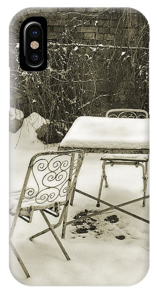Vintage Metal Chairs Covered With Snow IPhone Case