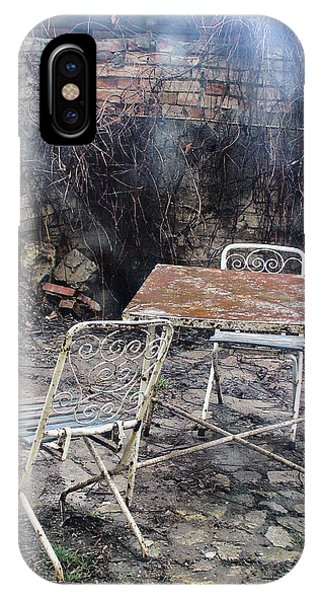 Vintage Metal Chairs In The Backyard IPhone Case