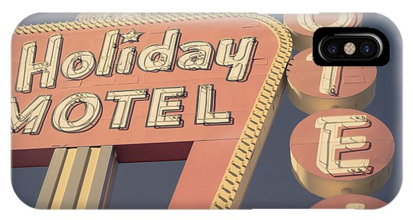 Square iPhone Case - Vintage Motel Sign Holiday Motel Square by Edward Fielding