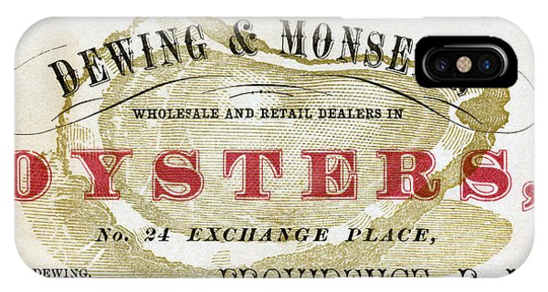 Oyster Bar iPhone Case - Vintage Oyster Dealers Trade Card by Historic Image