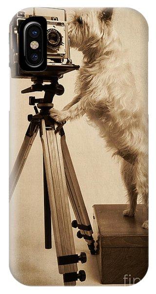 Er iPhone Case - Vintage Pho Dog Grapher Westie by Edward Fielding