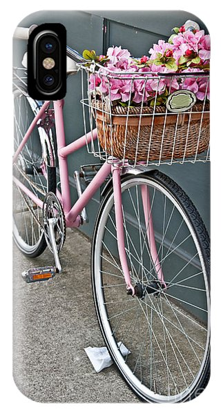 Vintage Pink Bicycle With Pink Flowers Art Prints IPhone Case
