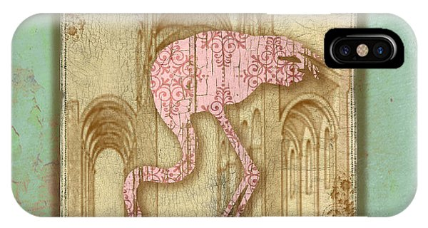 Aqua iPhone Case - Vintage Pink Flamingo-1 by Jean Plout