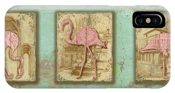 Aqua iPhone Case - Vintage Pink Flamingo Trio-b by Jean Plout