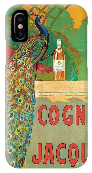 Peacock iPhone Case - Vintage Poster Advertising Cognac by Camille Bouchet