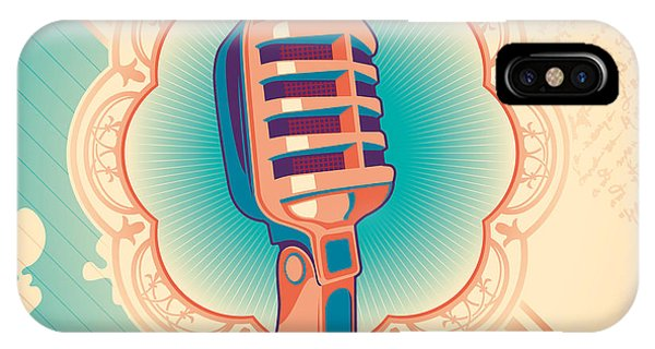 Musical iPhone Case - Vintage Poster With Microphone. Vector by Radoman Durkovic