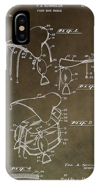 Vintage Saddle Patent Drawing IPhone Case