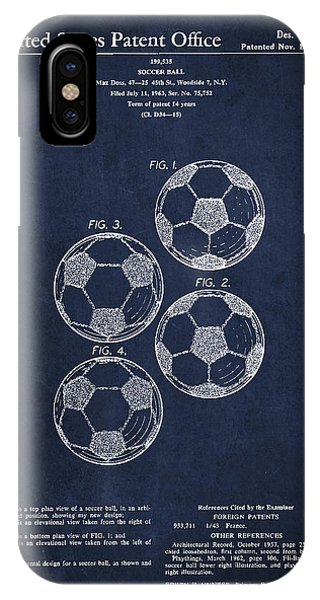 Patent Drawing iPhone Case - Vintage Soccer Ball Patent Drawing From 1964 by Aged Pixel