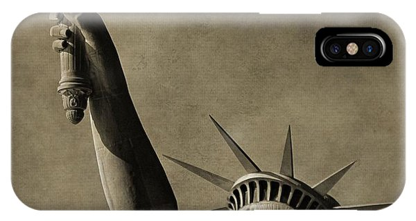 Battery D iPhone Case - Vintage Statue Of Liberty by Dan Sproul