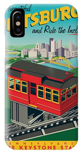 Red Sky iPhone X Case - Pittsburgh Poster - Incline by Jim Zahniser