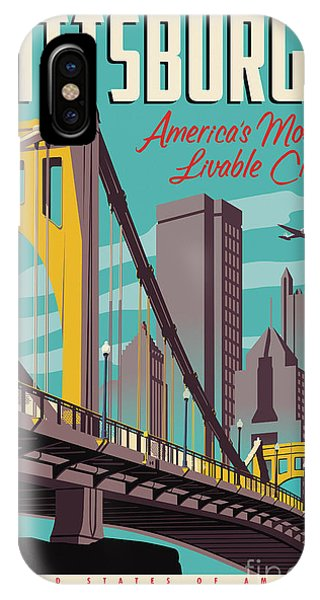 Skyline iPhone Case - Pittsburgh Poster - Vintage Travel Bridges by Jim Zahniser