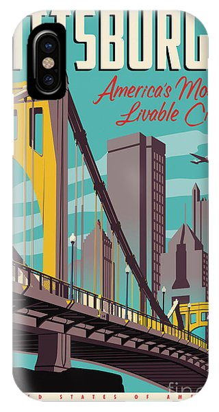 Skyline iPhone Case - Vintage Style Pittsburgh Travel Poster by Jim Zahniser