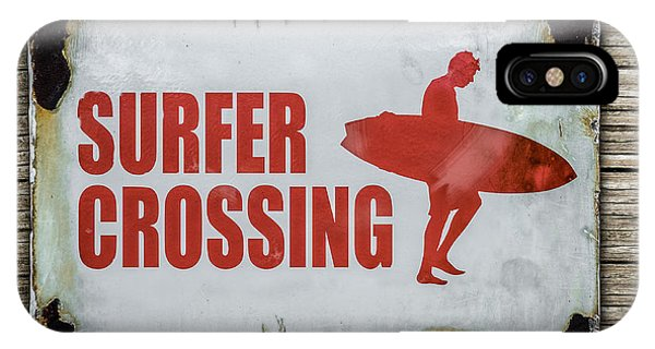 Surf iPhone Case - Vintage Surfer Crossing Sign On Wood by Mr Doomits