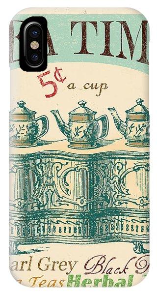 Vintage Tea Time Sign IPhone Case
