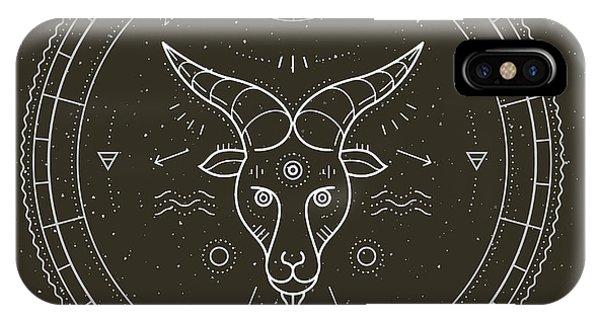 Magic iPhone Case - Vintage Thin Line Capricorn Zodiac Sign by Painterr