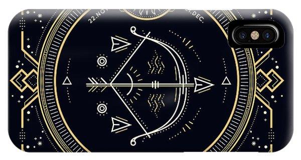 Magic iPhone Case - Vintage Thin Line Sagittarius Zodiac by Painterr