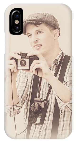 Vintage Tourist Taking Photograph Souvenirs IPhone Case
