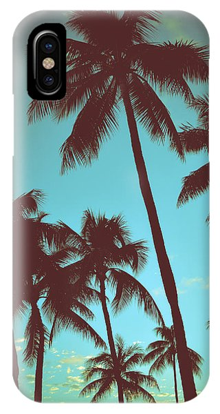 Palm Tree iPhone X Case - Vintage Tropical Palms by Mr Doomits