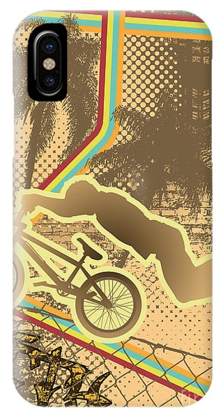 Cycling iPhone Case - Vintage Urban Grunge Background Design by Shockydesign