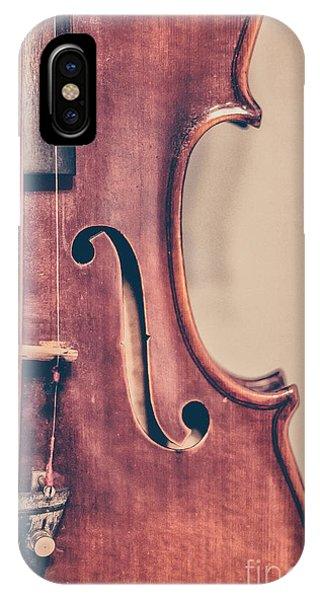 Violin iPhone X Case - Vintage Violin Portrait 2 by Emily Kay