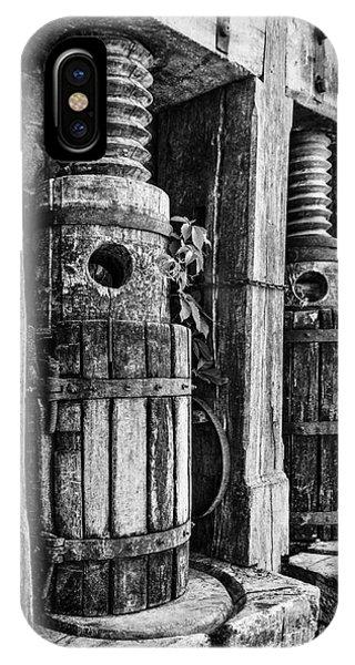 Vintage Wine Press Bw IPhone Case