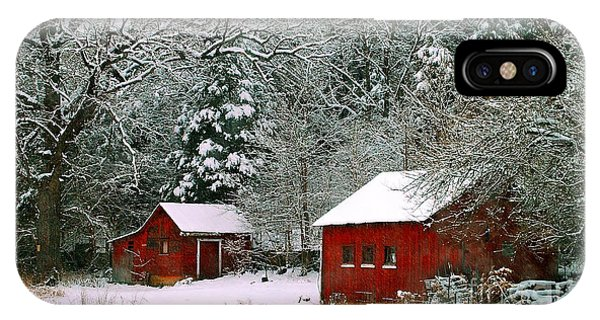 Vintage Winter Barn  IPhone Case