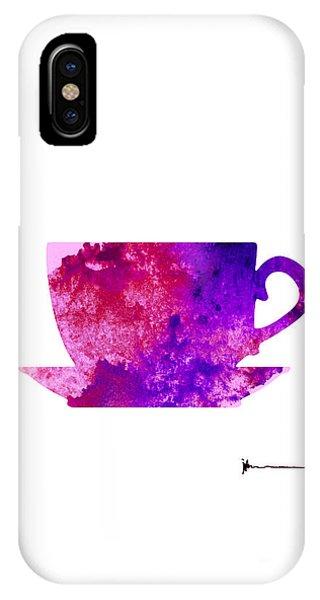 Violet iPhone Case - Violet Cup Of Tea Silhouette Painting Watercolor Art Print by Joanna Szmerdt