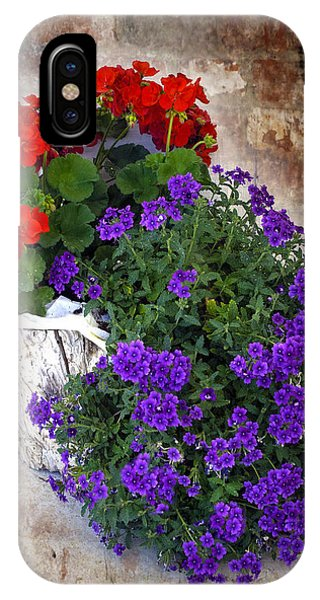 Violets And Geraniums On The Bricks IPhone Case