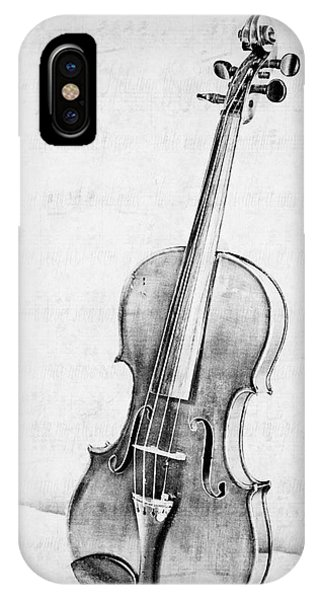 Violin iPhone X / XS Case - Violin In Black And White by Emily Kay