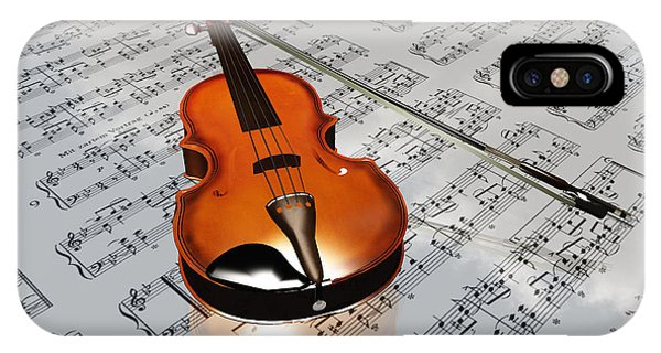 Violin On Sheet Music Backdrop With Clouds Reflecting IPhone Case