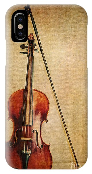 Violin iPhone X / XS Case - Violin With Bow by Emily Kay