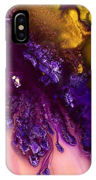 Vivid Abstract Art Purple Fugitive-gold Tones Fluid Painting By Kredart IPhone Case