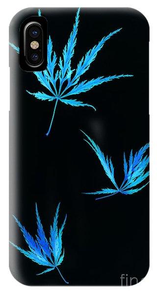 Vivid Blue Maple Leaves Falling Phone Case by Rosemary Calvert