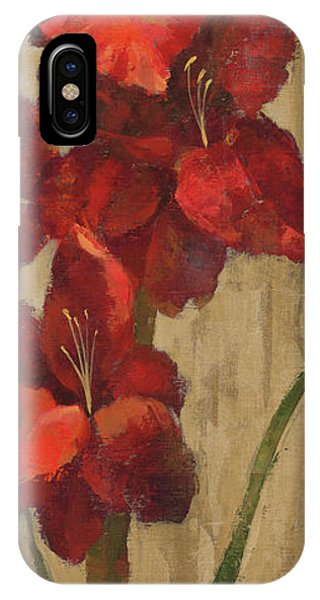 Vivid Red Gladiola On Gold IPhone Case