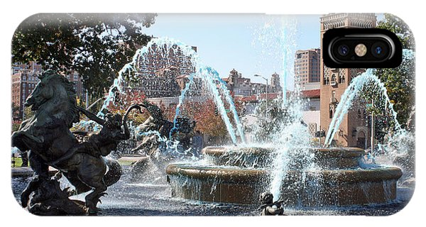 Jc Nichols Memorial Fountain In Blue IPhone Case