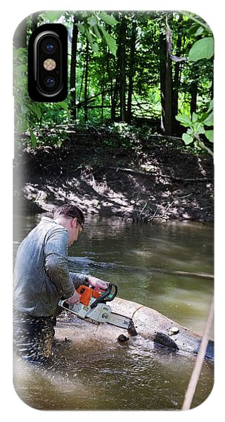 Altruism iPhone Case - Volunteer Clearing Log Jam by Jim West