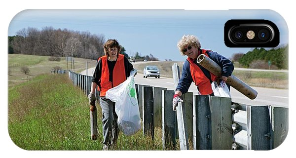 Altruism iPhone Case - Volunteers Clearing Roadside Litter by Jim West