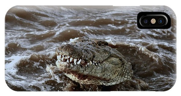 Voracious Crocodile In Water IPhone Case