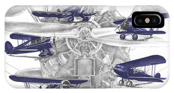Wacos - Vintage Biplane Aviation Art With Color IPhone Case