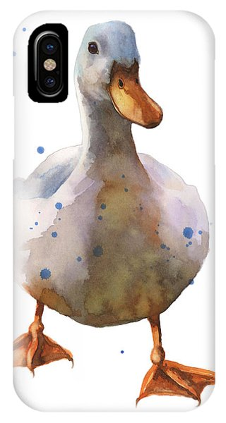 Waddling White Duck Phone Case by Alison Fennell