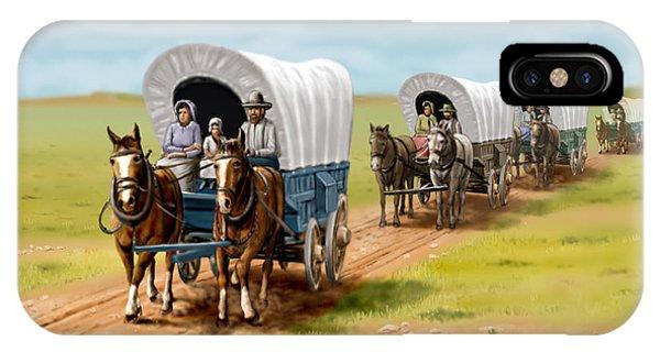 Schooner iPhone Case - Wagons West Establish Grapevine Texas - Wagon Train by Walt Curlee