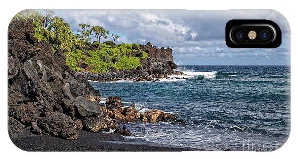Black Sand iPhone Case - Waianapanapa State Park's Black Sand Beach Maui Hawaii by Edward Fielding