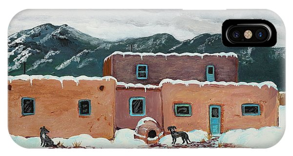 Waiting In Taos Phone Case by Mary Anne Civiok